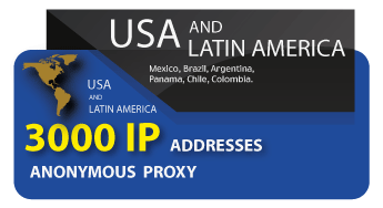 3000 IP addresses of anonymous proxies of the USA and Latin America
